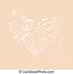Baby girl arrival card with beautiful heart