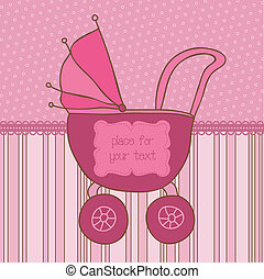 Baby Girl Arrival Card with Photo Frame and place for your text in vector