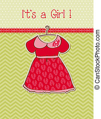 Baby Girl Arrival Card with Place for your text