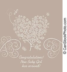 Baby girl arrival greeting pastel card with beautiful blossoming decorative lacy tree in heart shape