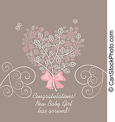 Baby girl arrival greeting pastel card with beautiful blossoming decorative lacy tree with pink flowers in heart shape