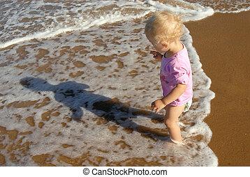 Baby girl at the seashore