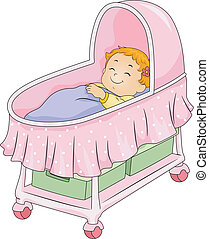 Baby Girl Bassinet - Illustration of a Little Girl Lying on...