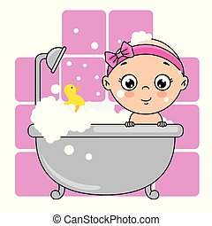 baby girl bathing in the bathtub