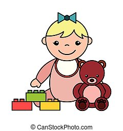 baby girl bear blocks toys