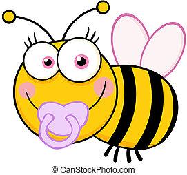 Baby Girl Bee Cartoon Character - Happy Baby Girl Bee...