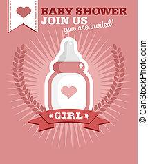 Baby Girl Bottle Invitation