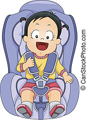 Baby Girl Car Seat - Illustration of a Baby Girl Strapped to...