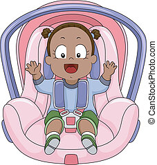 Baby Girl Car Seat - Illustration of a Smiling Baby Girl...