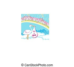 Baby girl Card - A stork delivering a baby girl