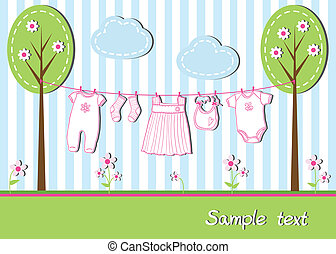 New baby girl card with clothes, vector illustration
