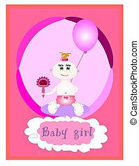 Baby girl card, vector
