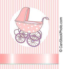 Baby Girl Carriage  - Baby girl Carriage announcement card