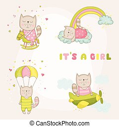 Baby Girl Cat Set - Baby Shower or Arrival Card - in vector