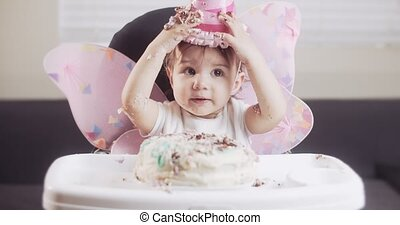 Baby girl celebrates her first birthday.