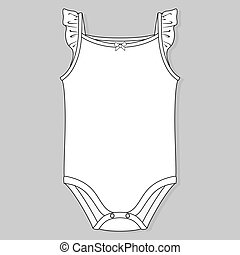 baby girl clothes flat sketch