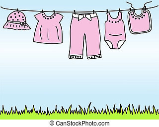 Baby girl clothes on clothesline