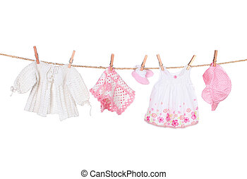 Baby Girl Clothing Hanging on a Clothesline Isolated on...
