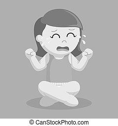 Baby girl crying illustration design