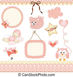 Baby girl design elements - Scalable vectorial image...