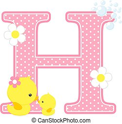 baby girl duck initial h