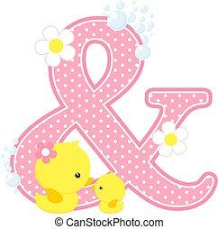 baby girl duck initial &