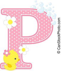 baby girl duck initial p