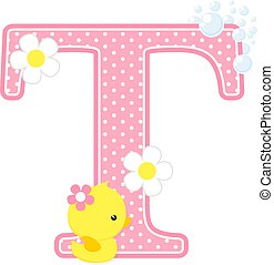 baby girl duck initial t