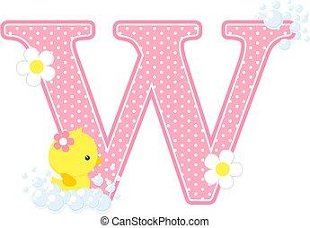 baby girl duck initial w