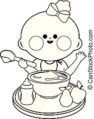 Baby girl eating food. Vector black and white coloring page