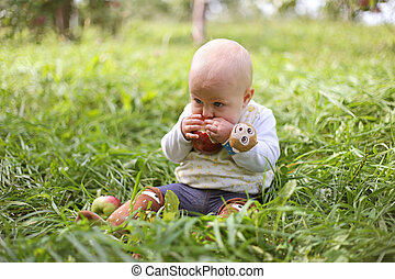 Baby Girl Eating Fruit in Apple Orchard