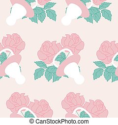 Baby girl elements and pink flowers in a seamless pattern design