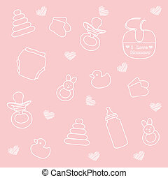 baby girl elements, pink background