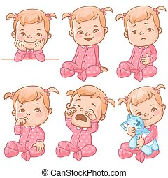 baby girl emotions set