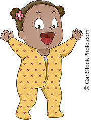 Baby Girl Footie Pajamas - Illustration of a Smiling Baby...