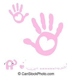 Baby girl hand prints arrival card with heart and elephant