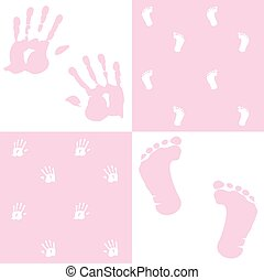 baby girl, handprint, footprint, vector set