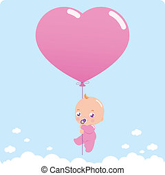 Baby girl holding a pink balloon