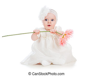 baby girl holding flower gift, isolated on white