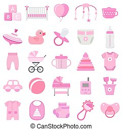 Baby girl icons set. Vector illustration.
