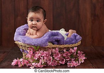 Baby girl in basket