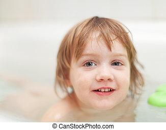 baby girl  in bath