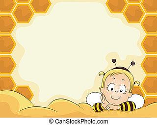Baby Girl in Beehive Frame