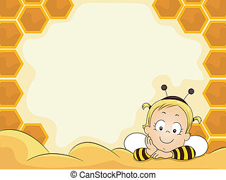Baby Girl in Beehive Frame