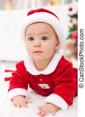 Baby girl in christmas outfit