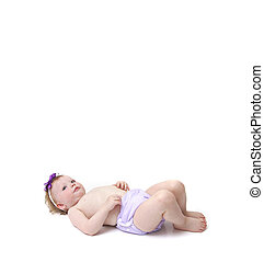 baby girl in cloth diaper