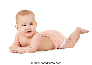 Baby girl in diaper lying isolated