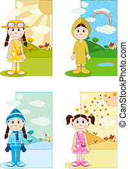 Baby Girl in Differnet Season - illustration of baby girl...