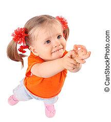 Baby girl in orange t-shirt.
