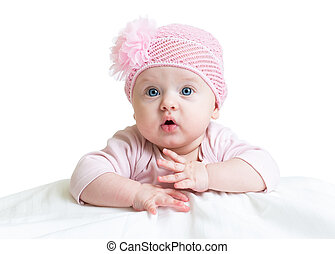 baby girl in pink knitted hat